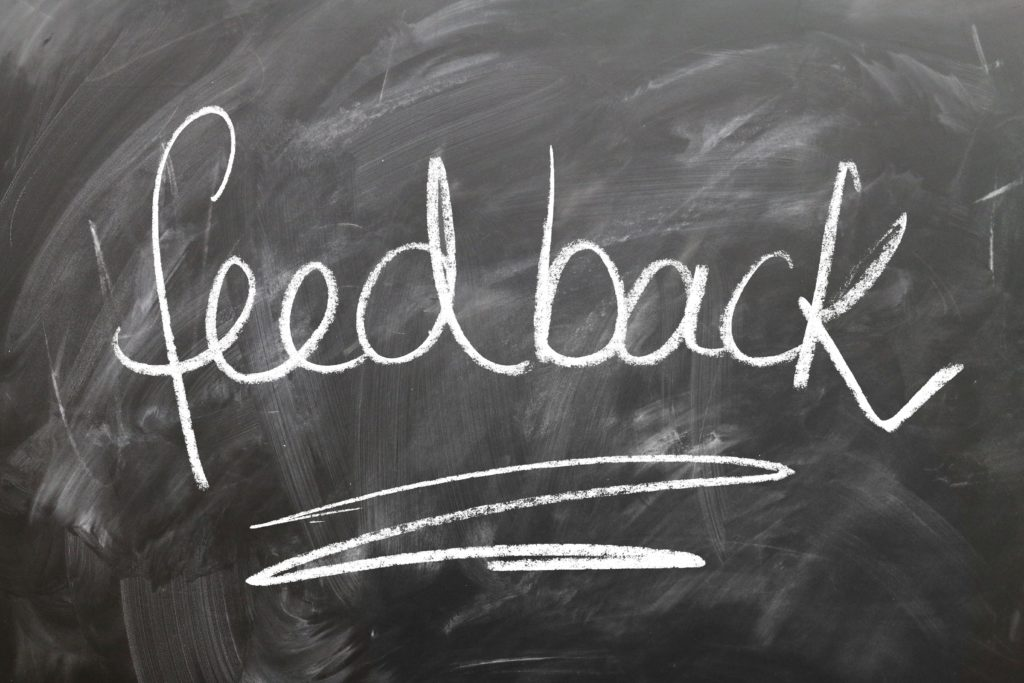 "Word ""feedback"" on chalkboard"