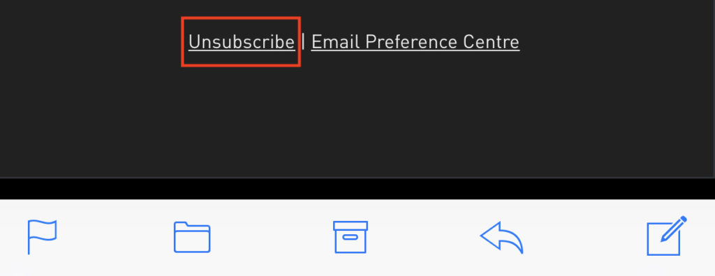 Unsubscribe link button on an email